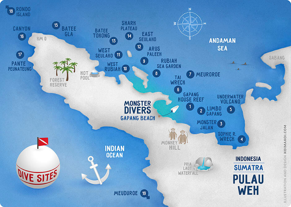 Dive site map Pulau Weh Monster Divers